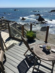 Deck and beach stairs.