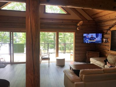 Photo for Full Log Home On Private Lake Close To Town, Snowmobile Trails, & Golf Course