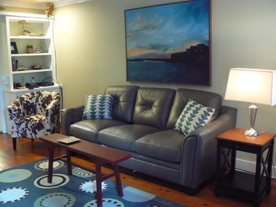 Our comfy family room.Great for TV viewing, reading,or just kicking back.