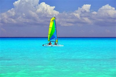 Sailboats and kayaks available at Fishermens; this from beach right in front