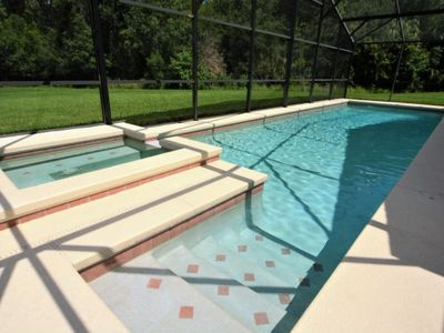 Photo for Big pool deck overlooking quiet conservation area
