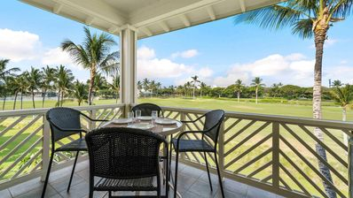 Covered lanai with golf course view