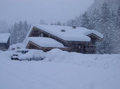 Chalet in a snow storm