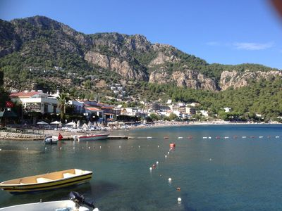 View of the Beach from the Harbour .Taxi boats to Marmaris and Icmeler 30 mins
