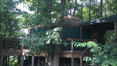 Photo for Stay In A Yurt! Secluded And Wooded Acreage On A Lake!  Lawton Mi