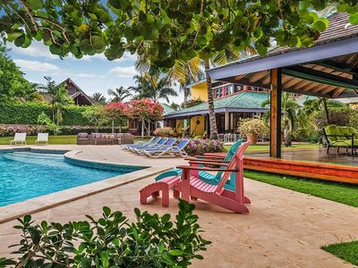 Photo for Beautiful Beachfront Villa with One-Acre Garden and Infinity Pool, Two Gazebos, Fully Staffed