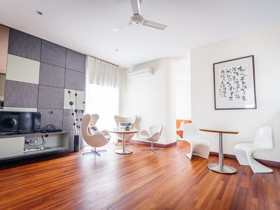 Photo for Modern & big private studio room at top floor with shared pool in bungalow