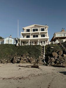 Oceanfront, with privates steps onto the beach.