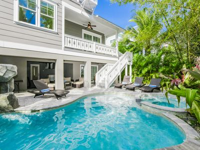 Photo for Perfect Home! Waterslide! One block off the beach- private pool/spa