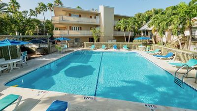 The large community pool is located just downstairs...