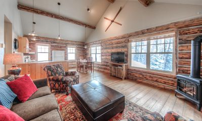 Photo for Charming log cabin suited for families near Big Sky Resort - stellar views and hot tub
