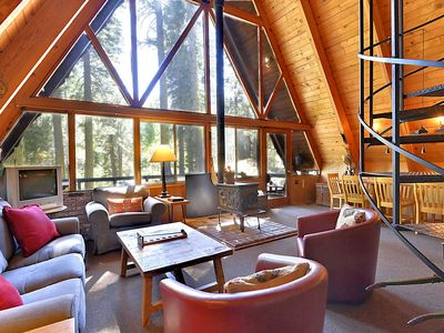 Photo for RARE FIND! Cozy A-Frame Winter Cabin in the Heart of Alpine Meadows. 2 Miles to Alpine Meadows Ski Resort. BONUS - Free Daily Activities!