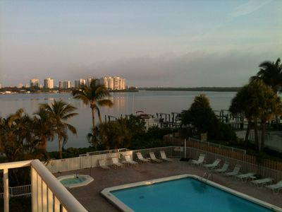View from balcony. Nice viewpoint to watch the dolphins swimming in the water.