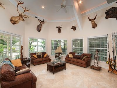 Trophy Room - Great Room with High Ceilings and Comfortable Sofas