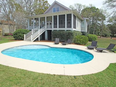 Photo for Dog-friendly vacation house with private pool & screened-in deck - walk to beach