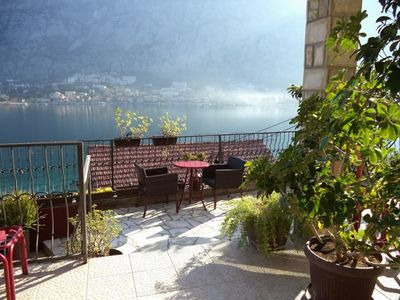 Photo for Cute studio with amazing Kotor bay view balcony , in peaceful and unique area