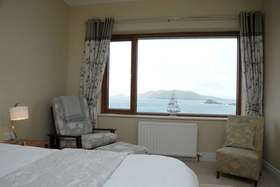 Downstairs double bedroom with spectacular Blasket Island view.