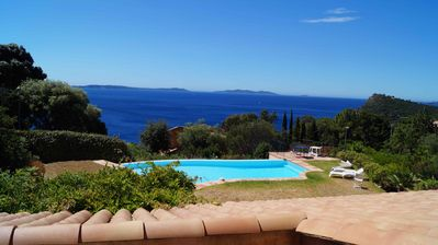 Photo for Rayol Canadel / Sea Magnificent T2 in 1800m2 property, pool and sea view