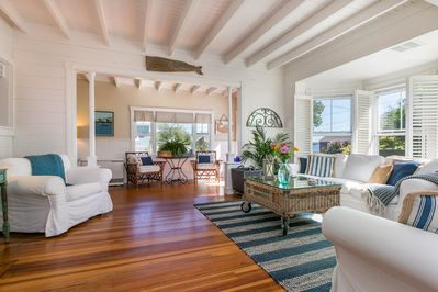 Bright, sunny and breezy, the open living room/sun room area with  ocean views!