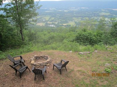 View of the longest valley in the world - Seating area and fire pit.