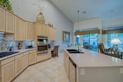 Spacious and well stocked kitchen has everything you need to prepare and serve your favorite cuisine