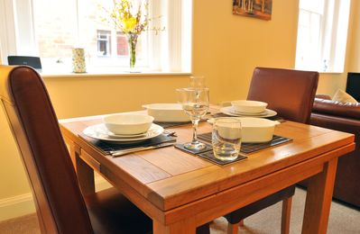 The dining area, the table extends if you have visitors