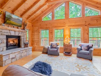 Photo for 5BR/3.5BA Log Cabin on Beech Mountain, Wall of Windows, Large Deck, 3 miles to Ski Slopes, Ice Skating, Near Hiking, Mountain Biking, Sledding