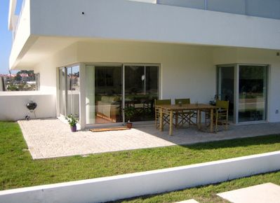 Apartment 78B patio with bamboo garden furniture