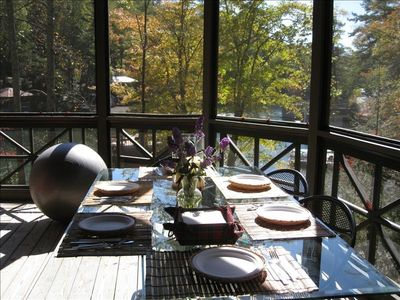 Screened Porch has Dining Table