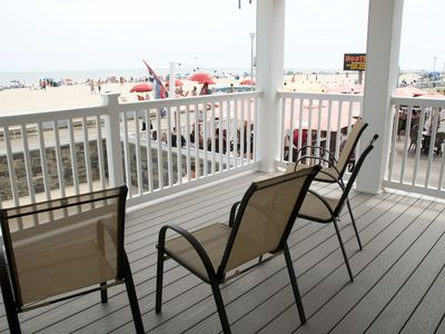 Photo for OC Boardwalk Suites S2 - Oceanfront on the Boardwalk, Umbrella, Beach Chairs!