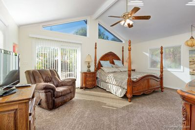 Master Bedroom-California King, Vaulted Ceilings, Rocker-recliner, Patio