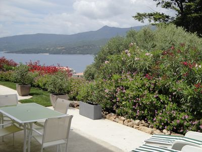Photo for Spacious T3 in villa, calm, seen sea, garden, 8mn beach and Propriano center