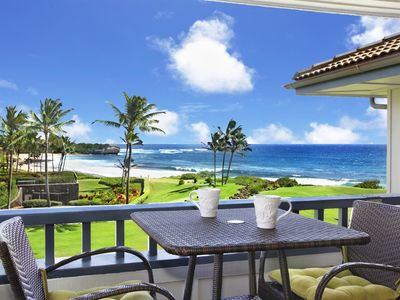 Photo for Poipu Sands  #525: Updated Ocean Front Unit! Walk to Beach for Stunning Sunsets!