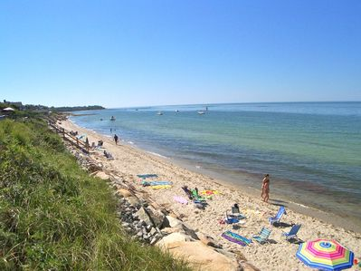 It's only a two-minute walk to this private neighborhood beach.