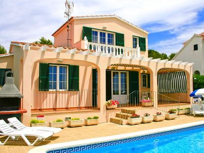Photo for This 3-bedroom villa for up to 6 guests is located in Son Bou, Menorca and has a private swimming po