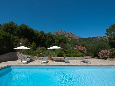 Photo for Private pool villa in a village, wonderful mountain view, close to the sea