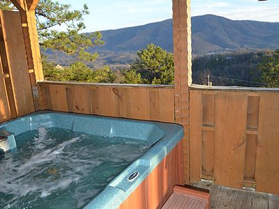 Photo for Great Views 2 BR Sleeps 4 Hot Tub Jacuzzi Fireplace Kitchen Covered Decks Grill  Minutes to Pigeon