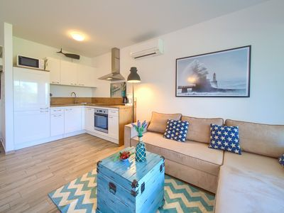 Photo for GOLDFISH 1 Studio apartment, 50m from the beach, sea view, air conditioning, WiFi, parking