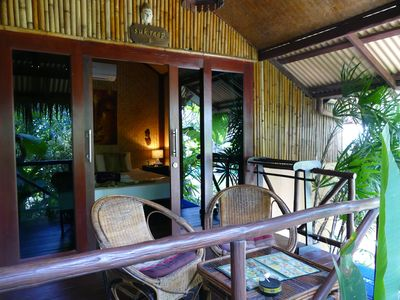 Photo for Typical Bamboo Bungalow in Tropical Garden Zen, pool, 5 min from the beach