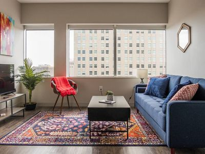 Photo for Deluxe 1BR Apt in High-Rise Tower near Everything