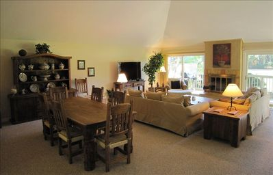 Great room with golf course view