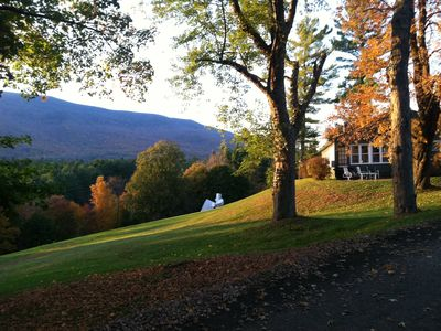 Innkeepers cottage and lawn in fall.