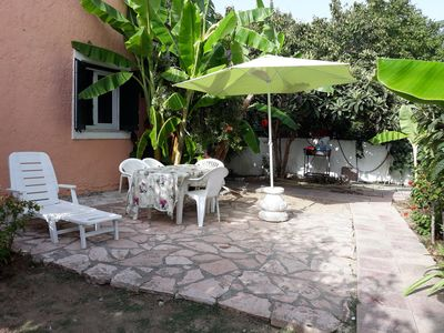 outside garden area with barbecue