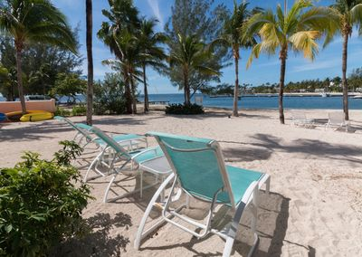 Three Chaise Lounges available for lounging on Kaibo Beach
