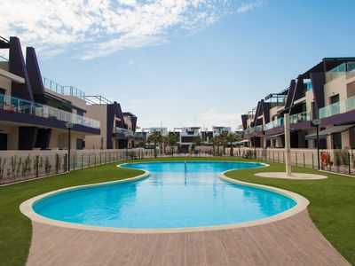 Photo for Apartment, pool, terrace, 80 meters to the beach, air conditioning, WiFi, up to 6 people