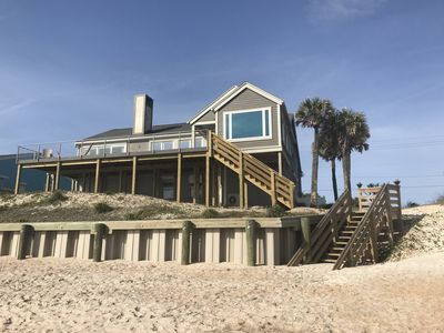 Photo for Breath taking Beach Front Home with Large Deck  and ground level gas fire ring.