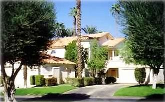 Outside view of 2nd story, single level condo in Desert Falls Country Club.