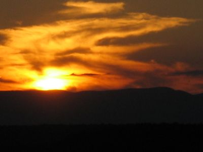 Spectacular Sunset over Hudson River and Catskill Mountains
