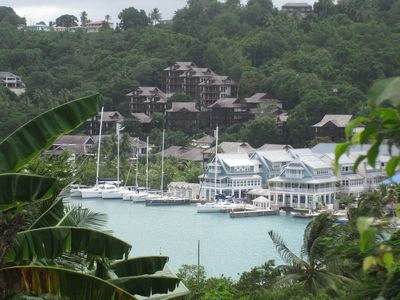 Overview from across the Bay of Marigot Bay Resort and Marina