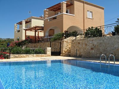 Photo for Luxury Detached Villa Emilia in Plaka has Stunning Sea views, Shared Pool & WiFi